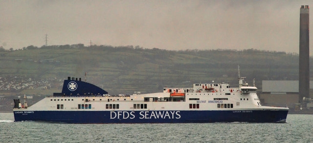 Lagan Seaways pictured in her short-lived full DFDS livery during 2011. The DFDS name would soon be painted out and the funnel colours replaced with those of Stena Line. © Copyright Albert Bridge and licensed for reuse under this Creative Commons Licence http://creativecommons.org/licenses/by-sa/2.0/ .