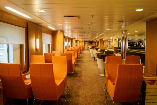 Bar/Coffee house onboard Stena Superfast X. Looking towards the stern of the vessel. Copyright © Steven Tarbox.