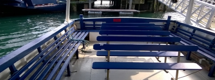 The covered passenger seating area on MV Rachlyn. DRD