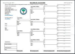 Record of Ancestors Chart