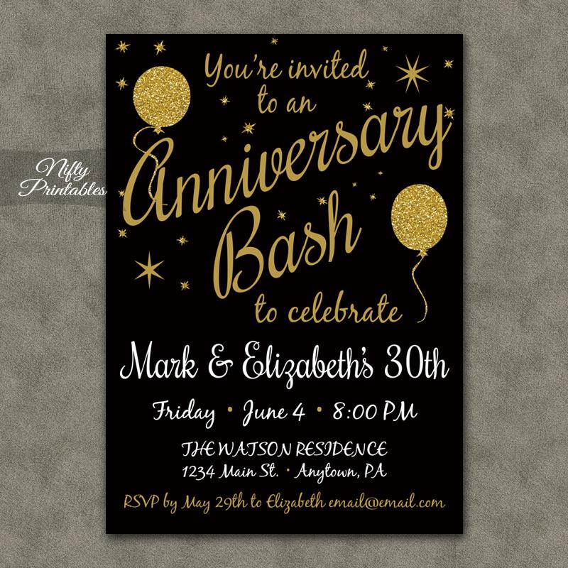 Gold Glitter Balloon Anniversary Invitations Nifty