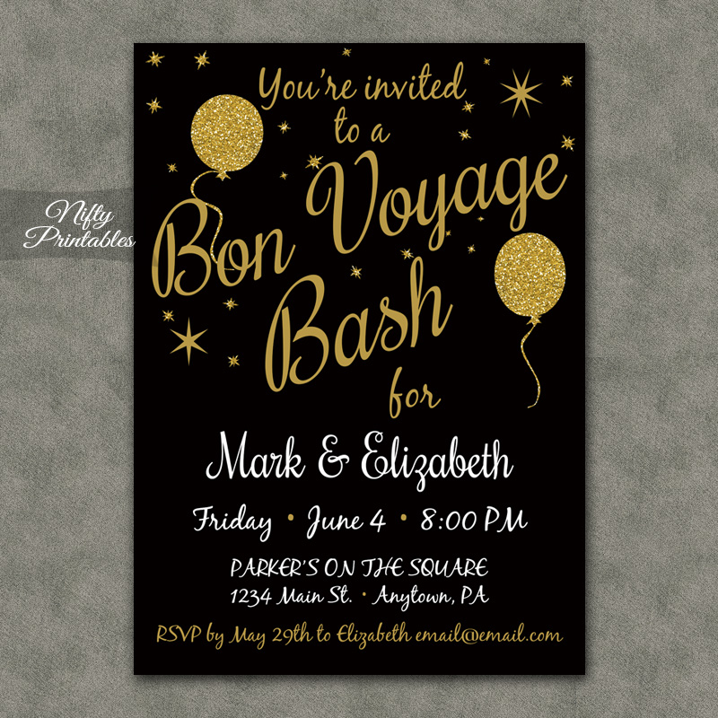 Glitter Balloons Bon Voyage Going Away Invitations Nifty