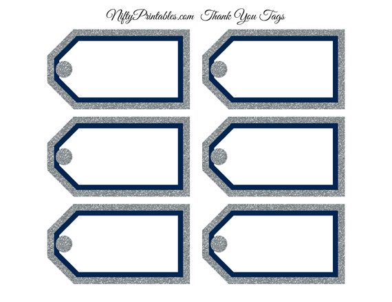 Blank Favor Tags Navy Silver Glitter Nifty Printables