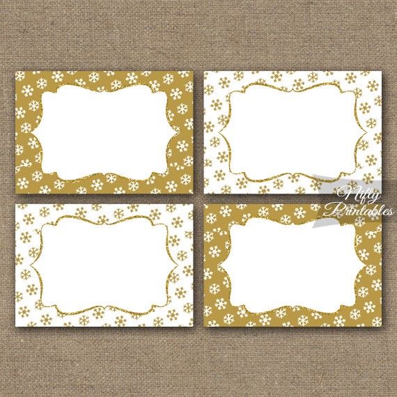 gold snowflakes holiday labels