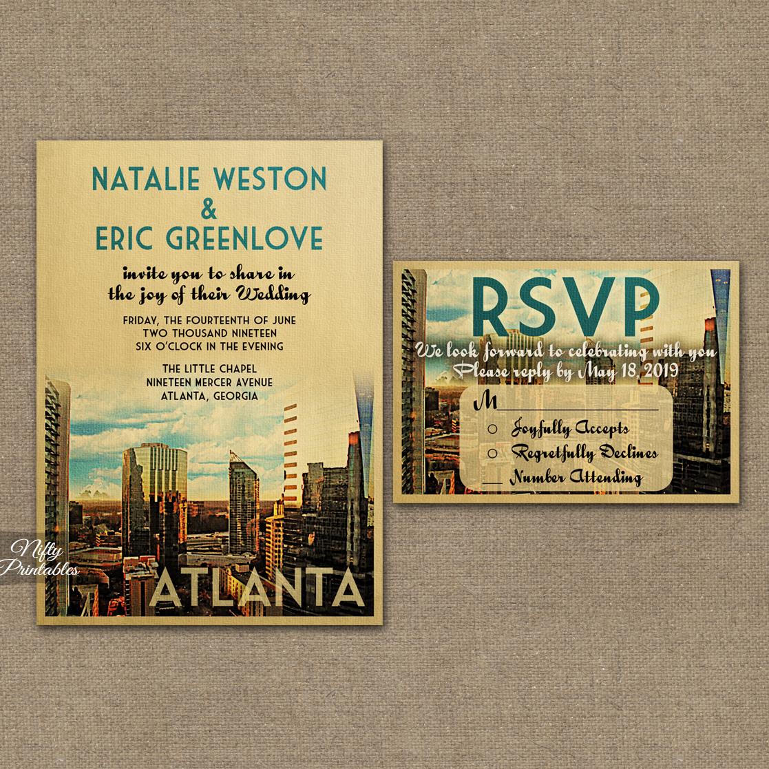 Atlanta Wedding Invitations VTW  Nifty Printables