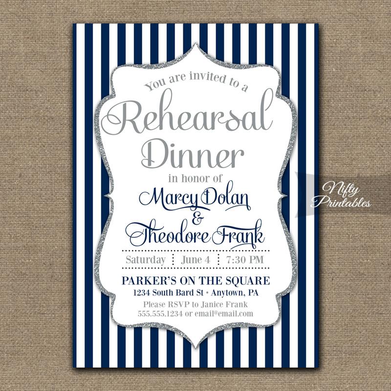 Navy Blue Silver Wedding Rehearsal Dinner Invitations