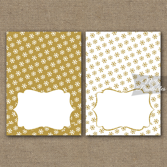 Gold Snowflake Holiday Place Cards Or Tent Cards Nifty