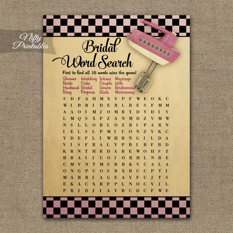 Printable Bridal Shower Word Search Game  Kitchen Shower