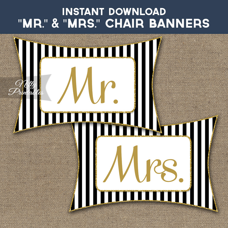 mr and mrs chair signs red desk black gold nifty printables