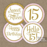 Printable Sweet 15 Birthday Cupcake Toppers - Pink Gold