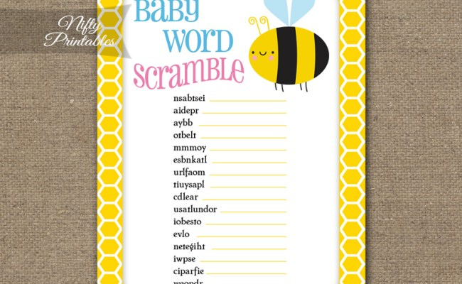 Bee Baby Shower Game Word Scramble