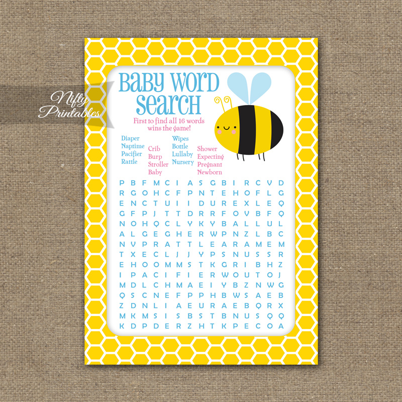 Bee Baby Shower Game Word Search