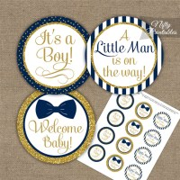 Baby Shower Toppers - Bow Tie Navy Gold - Nifty Printables