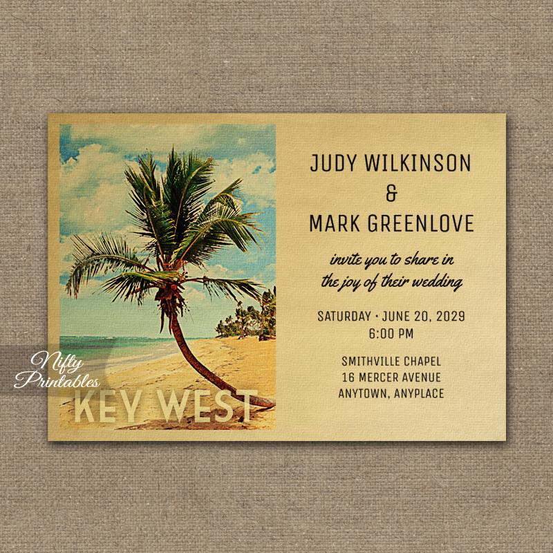 Key West Wedding Invitation Palm Tree PRINTED  Nifty Printables