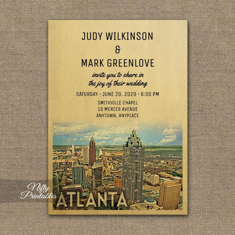 Atlanta Georgia Wedding Invitation PRINTED  Nifty Printables