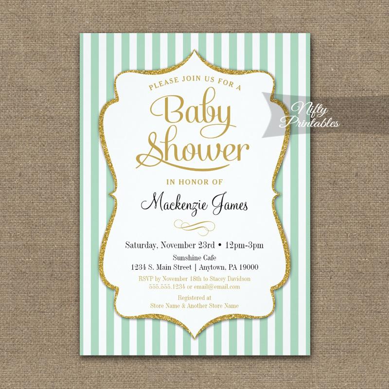 Mint Green Gold Baby Shower Invitation Elegant Stripe