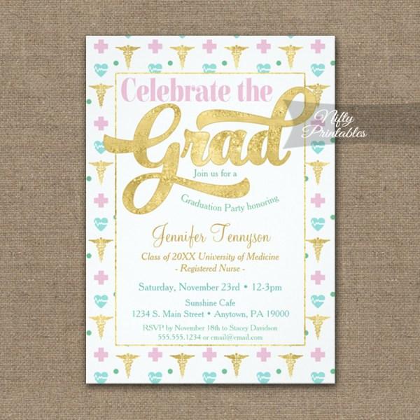 Graduation Invitation Nurse Doctor Rn Lpn Pink Gold