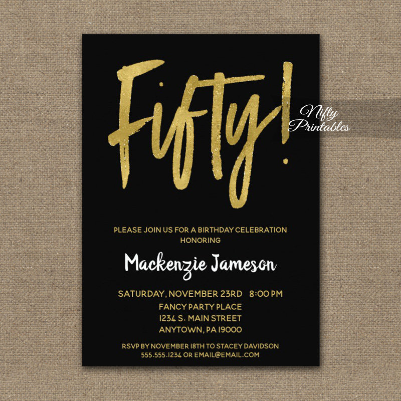 50th Birthday Invitation Black Gold Script PRINTED Nifty