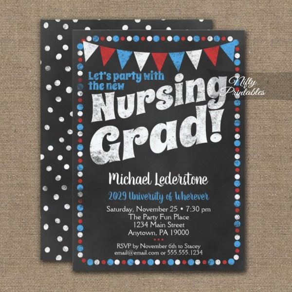 Nursing Graduation Party Invitation Red Blue Chalkboard