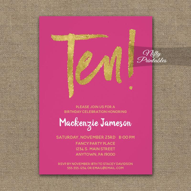 10th birthday invitations hot pink gold