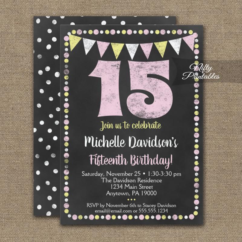 15th birthday invitations pink yellow