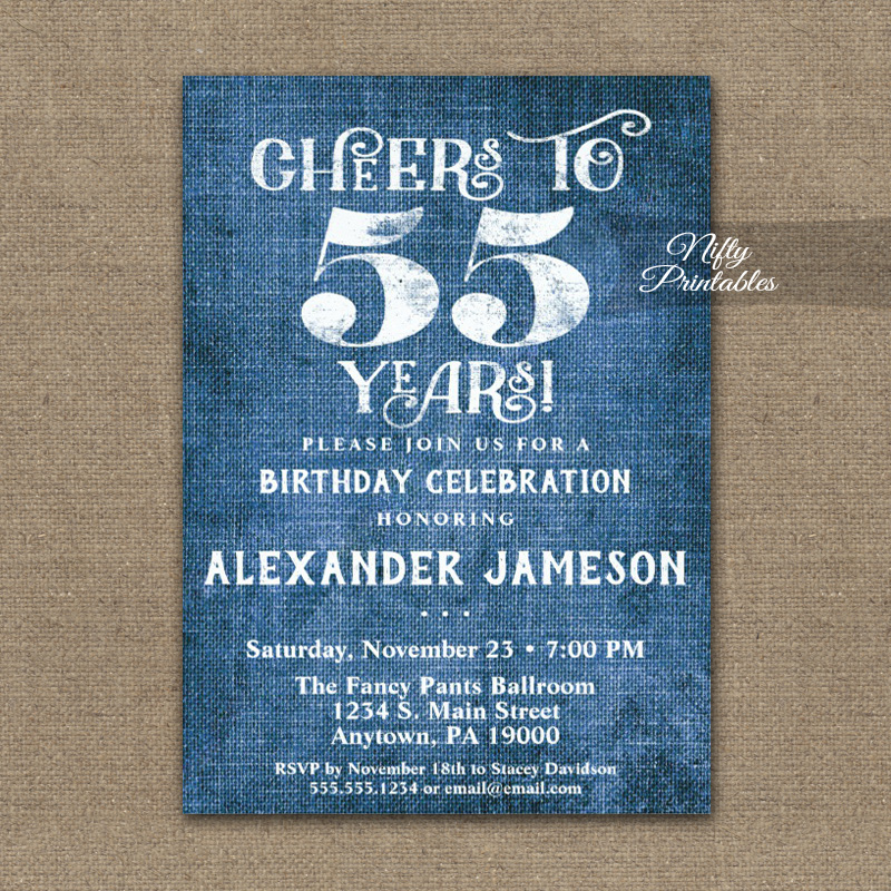 55th birthday invitations blue linen