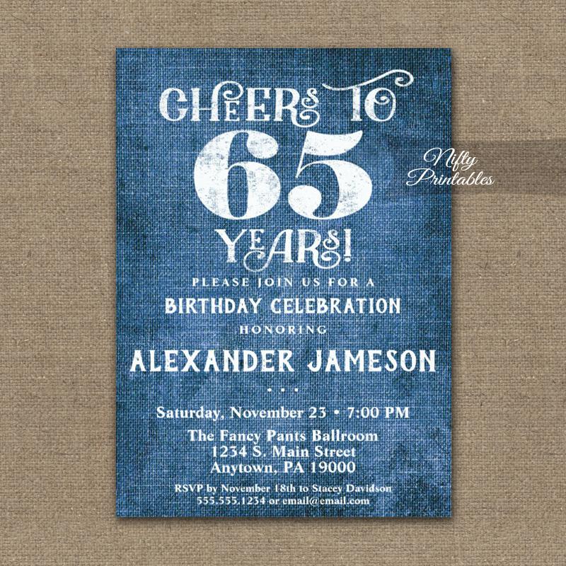 65th birthday invitations blue linen
