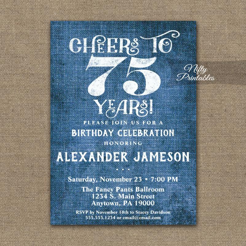 75th birthday invitations blue linen