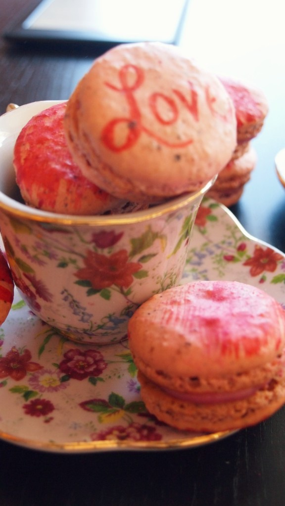 Painted Raspberry Macarons