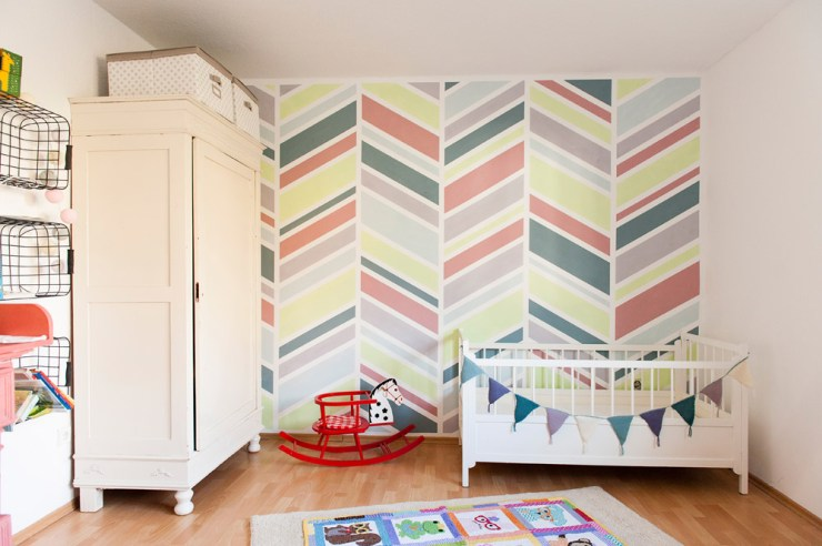 Modern Painted Feature Wall for the Nursery at {nifty thrifty things}
