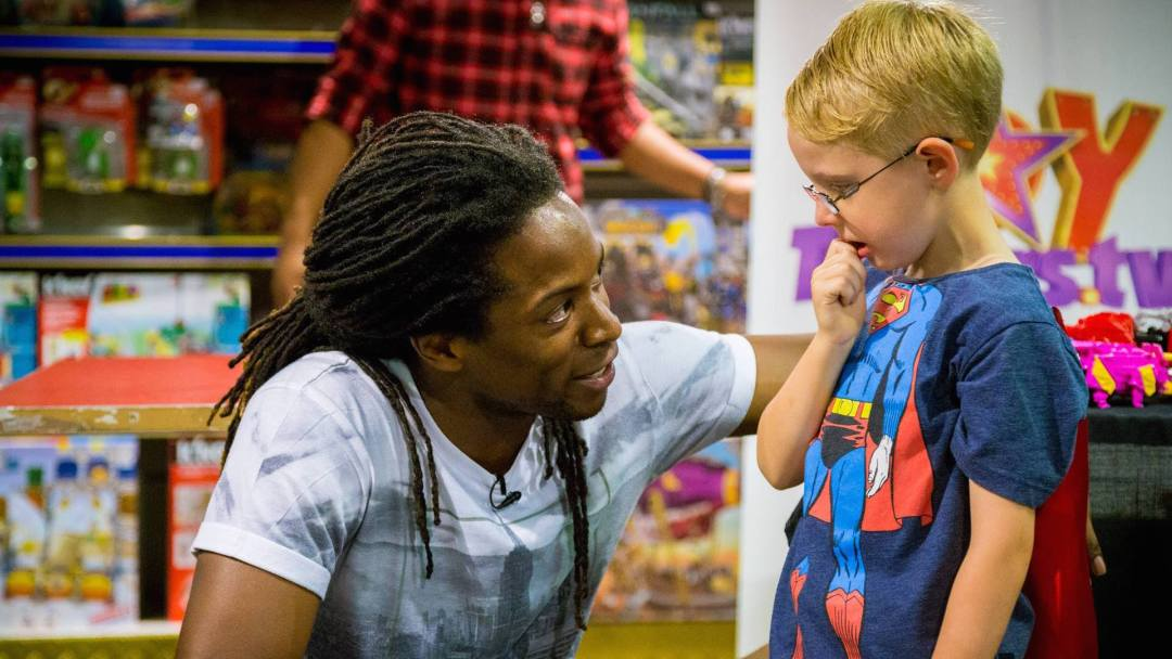 Helping Superman on the Toytesters.tv tour in London 2015