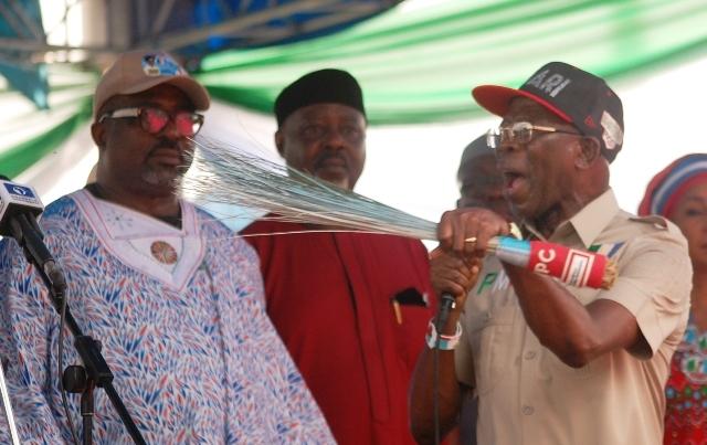 APC National Chairman, Adams Oshiomhole speaking at APC rally in Warri