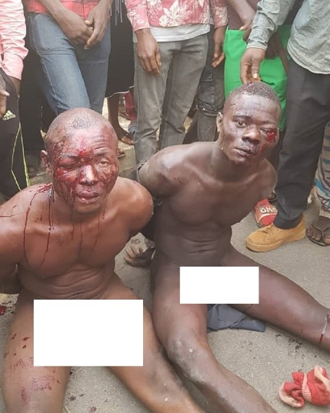 The suspected bombers after they were arrested
