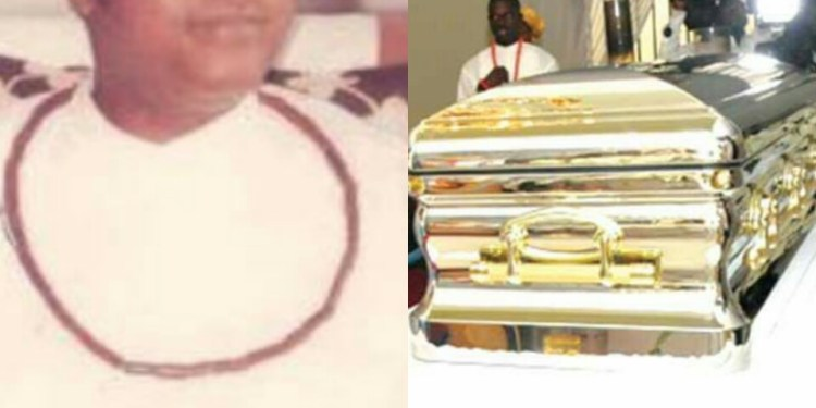 Late Olorogun Michael Ibru and the 'gold casket' used in burying him
