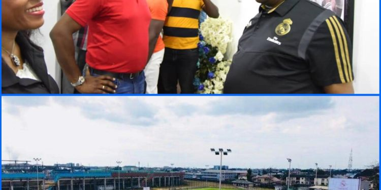 Governors Nyesom Wike of Rivers State and his counterpart from Ogun State, Seyi Makinde during the commissioning of the Real Madrid Academy in Port Harcourt
