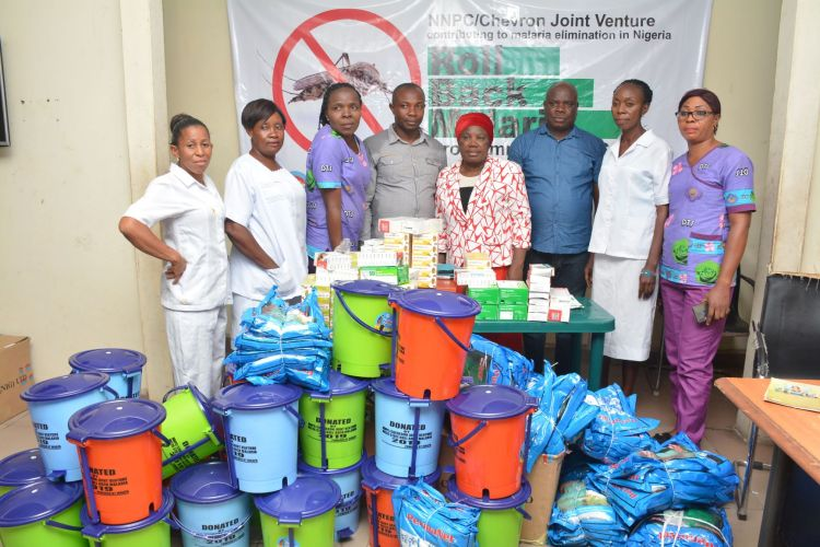 Some  officials of the Chevron sponsored  Roll-Back Malaria campaign team