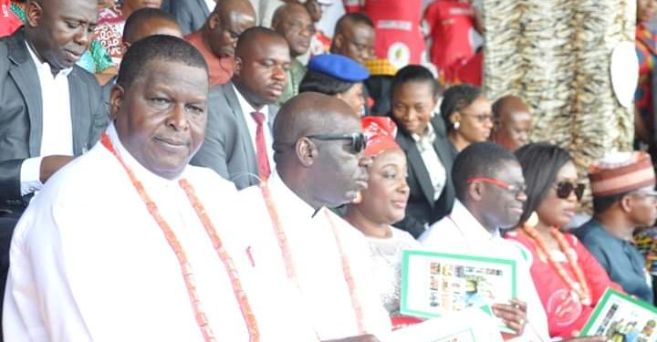 Governor Godwin Obaseki of Edo State and other dignitaries at the opening ceremony of NAFEST in Benin on Monday
