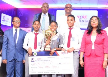 Winners of the 2019 Edition of SEPLAT PEARLs Quiz Competition flanked by Dr Chioma Nwachuku, General Manager, External Affairs & Communications (L) and other dignitary at the event.