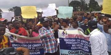 Protesting Ogoni youths, demanding for resumption of oil activities in Rivers State