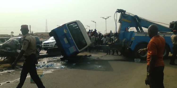 Scene of the accident where a pregnant woman was crushed to death in Asaba