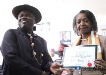 Bayelsa State Governor-elect, Duoye Diri receiving certificate-of-return
