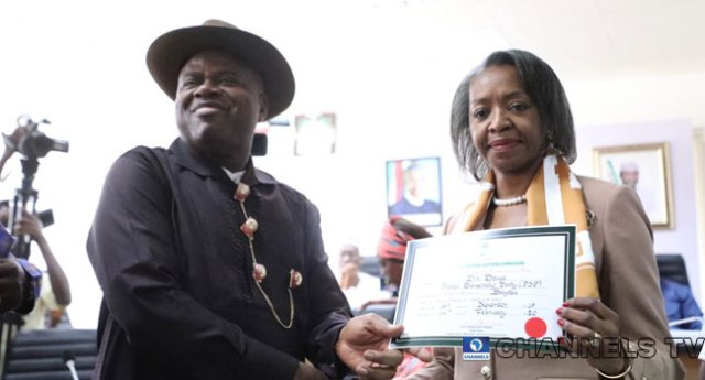 Bayelsa State Governor-elect, Duoye Diri receiving certificate-of-return