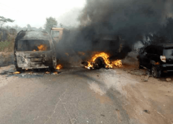 Scene of the accident where five staff of Okomu Oil Plc died on Friday