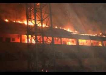 The hostel on fire