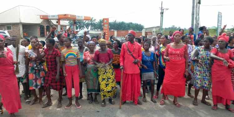Protesting Idjerhe women in Delta State