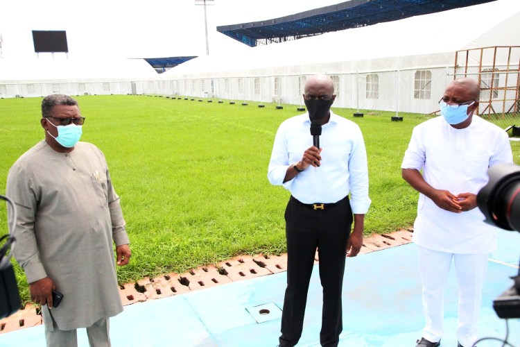 Secretary to Delta State Government, Mr. Chiedu Ebie (middle); Commissioner for Health, Dr. Ononye Mordi (left) and Chairman, Delta State Hospital Management Board, Dr. Austine Obidi, during the Inspection of Seventy Bed space Capacity COVID-19 Treatment Centre, Donated by NNPC/Agip joint venture, at the Stephen Keshi Stadium, Asaba, Delta State. Tuesday 9/6/20 PIX: JIBUNOR SAMUEL.