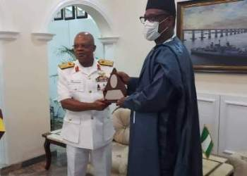 Chief of Naval Staff,  Vice Admiral Ibok Ekwe Ibas and Governor Abubakar Sani Bello