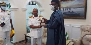 Chief of Naval Staff,  Vice Admiral Ibok Ekwe Ibas and Governor Abubakar Sani Bello