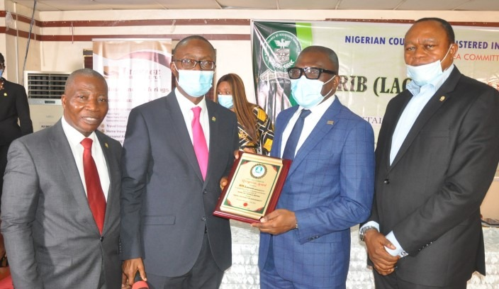 L-R: Rotimi Olukorede, Chairman, Nigerian Council of Registered Insurance Brokers (NCRIB), Lagos Area Committee (LAC); Fatai Adegbenro, Executive Secretary/CEO, NCRIB; Adelagun Okanlawon, executive director, Technical, Linkage Assurance Plc, and Ayo Akande, past chairman, LAC, during the NCRIB - LAC general meeting recently, in Lagos.