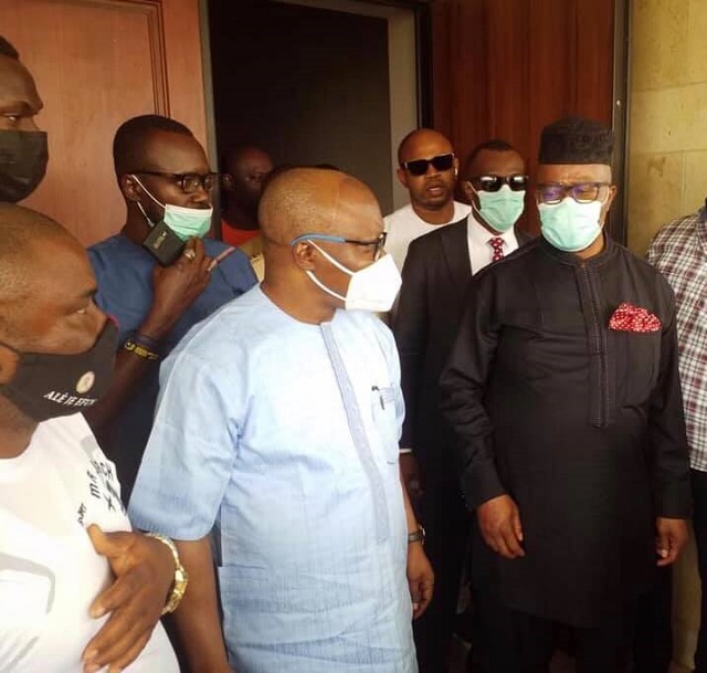 Former Delta State governor, Dr. Emmanuel Uduaghan and Senator Godswill Akpabio during the minister's visit to Uduaghan's home in Warri on Friday